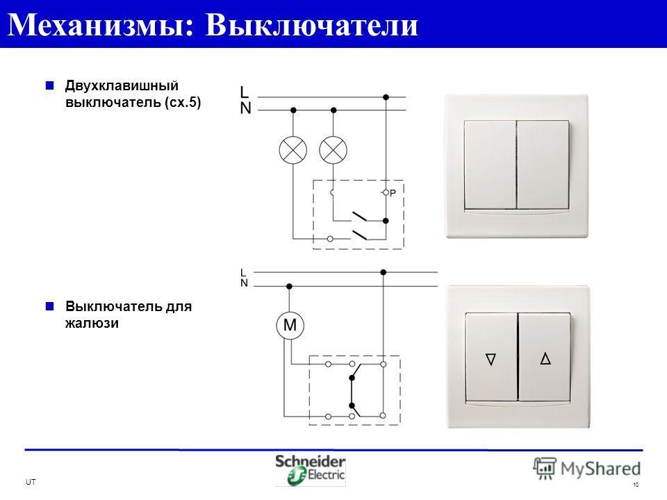 UT 10 Двухклавишный выключатель (сх.5) Выключатель для жалюзи Механизмы: Выключатели