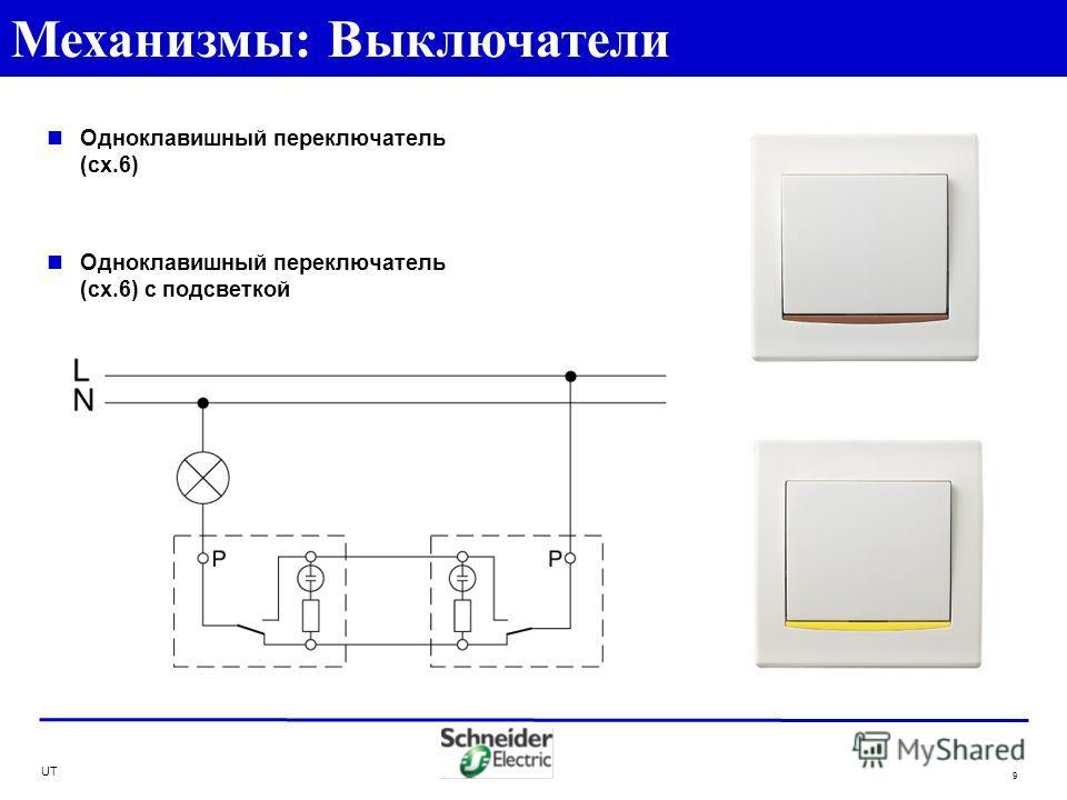 UT 9 Одноклавишный переключатель (сх.6) Одноклавишный переключатель (сх.6) с подсветкой Механизмы: Выключатели