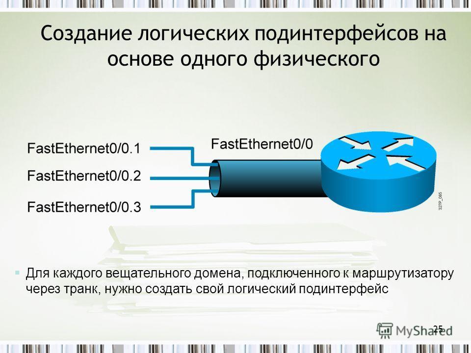 25 Создание логических подинтерфейсов на основе одного физического Для каждого вещательного домена, подключенного к маршрутизатору через транк, нужно создать свой логический подинтерфейс