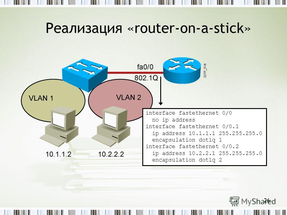 26 Реализация «router-on-a-stick» interface fastethernet 0/0 no ip address interface fastethernet 0/0.1 ip address 10.1.1.1 255.255.255.0 encapsulation dot1q 1 interface fastethernet 0/0.2 ip address 10.2.2.1 255.255.255.0 encapsulation dot1q 2