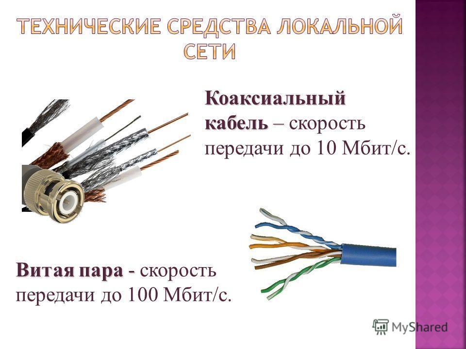 Коаксиальный кабель – Коаксиальный кабель – скорость передачи до 10 Мбит/с. Витая пара - Витая пара - скорость передачи до 100 Мбит/с.