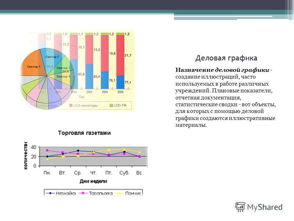 Деловая графика Назначение деловой графики - создание иллюстраций, часто используемых в работе различных учреждений. Плановые показатели, отчетная документация, статистические сводки - вот объекты, для которых с помощью деловой графики создаются иллю