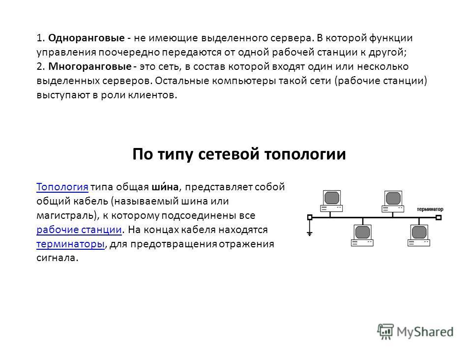 1. Одноранговые - не имеющие выделенного сервера. В которой функции управления поочередно передаются от одной рабочей станции к другой; 2. Многоранговые - это сеть, в состав которой входят один или несколько выделенных серверов. Остальные компьютеры
