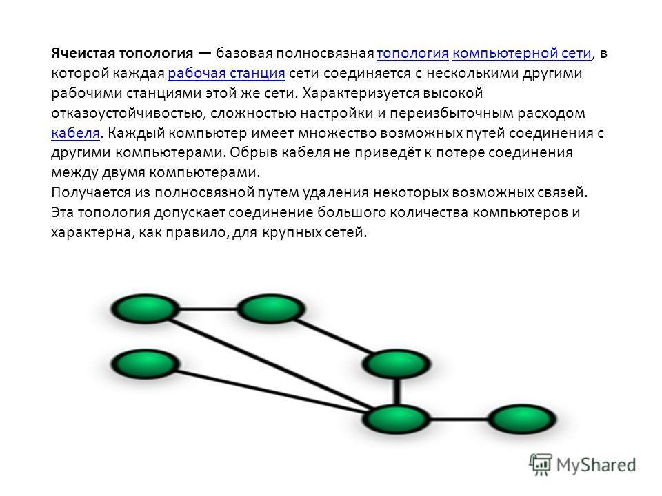 Ячеистая топология базовая полносвязная топология компьютерной сети, в которой каждая рабочая станция сети соединяется с несколькими другими рабочими станциями этой же сети. Характеризуется высокой отказоустойчивостью, сложностью настройки и переизбы