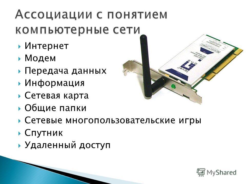 Интернет Модем Передача данных Информация Сетевая карта Общие папки Сетевые многопользовательские игры Спутник Удаленный доступ