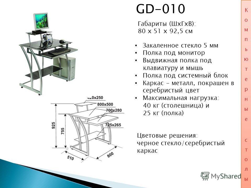 GD-010 Габариты (ШхГхВ): 80 x 51 x 92,5 см Закаленное стекло 5 мм Полка под монитор Выдвижная полка под клавиатуру и мышь Полка под системный блок Каркас - металл, покрашен в серебристый цвет Максимальная нагрузка: 40 кг (столешница) и 25 кг (полка)