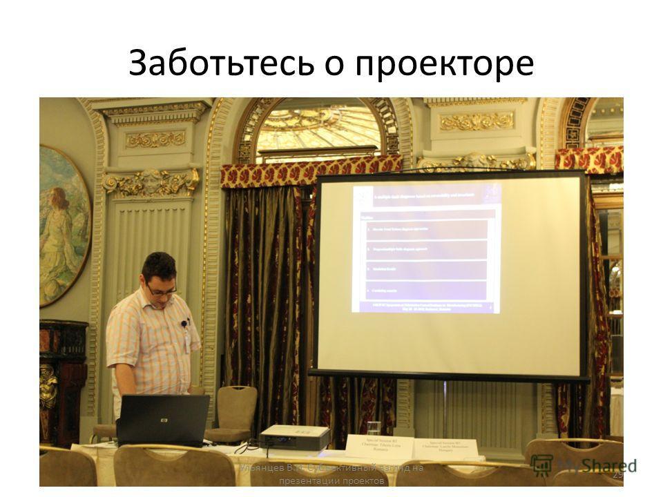 Заботьтесь о проекторе Ульянцев В.И. Субъективный взгляд на презентации проектов 29