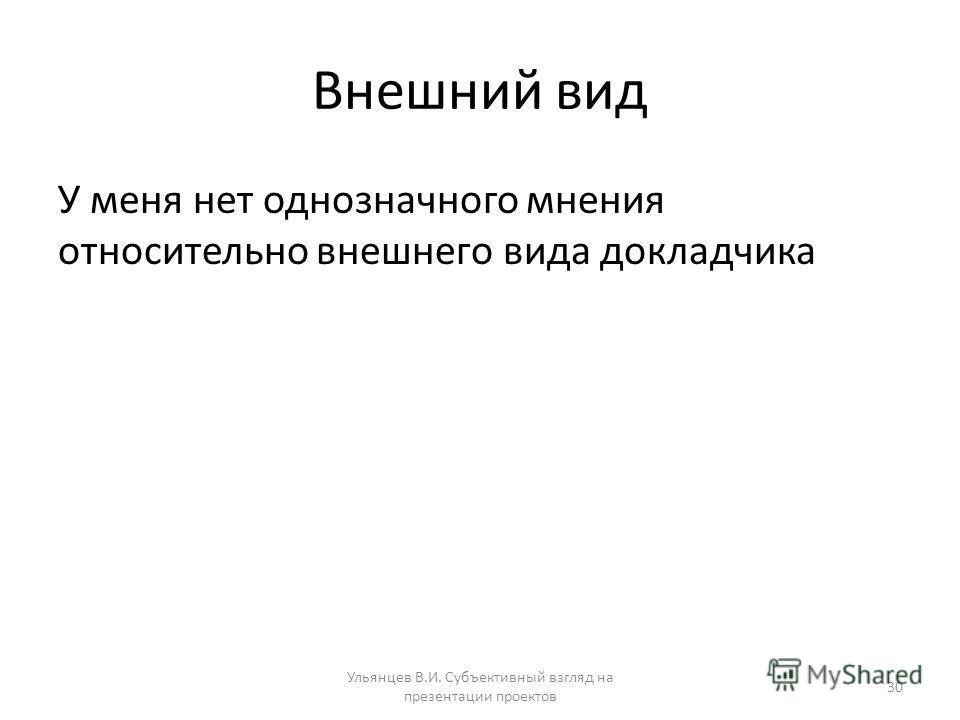 Внешний вид У меня нет однозначного мнения относительно внешнего вида докладчика Ульянцев В.И. Субъективный взгляд на презентации проектов 30