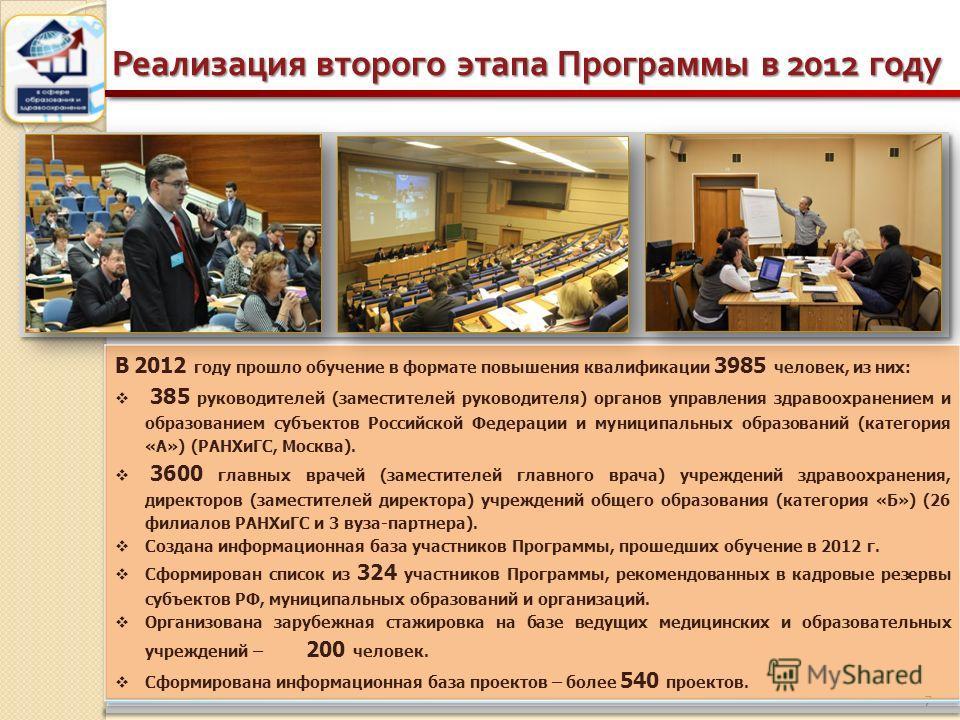 7 Реализация второго этапа Программы в 2012 году В 2012 году прошло обучение в формате повышения квалификации 3985 человек, из них: 385 руководителей (заместителей руководителя) органов управления здравоохранением и образованием субъектов Российской
