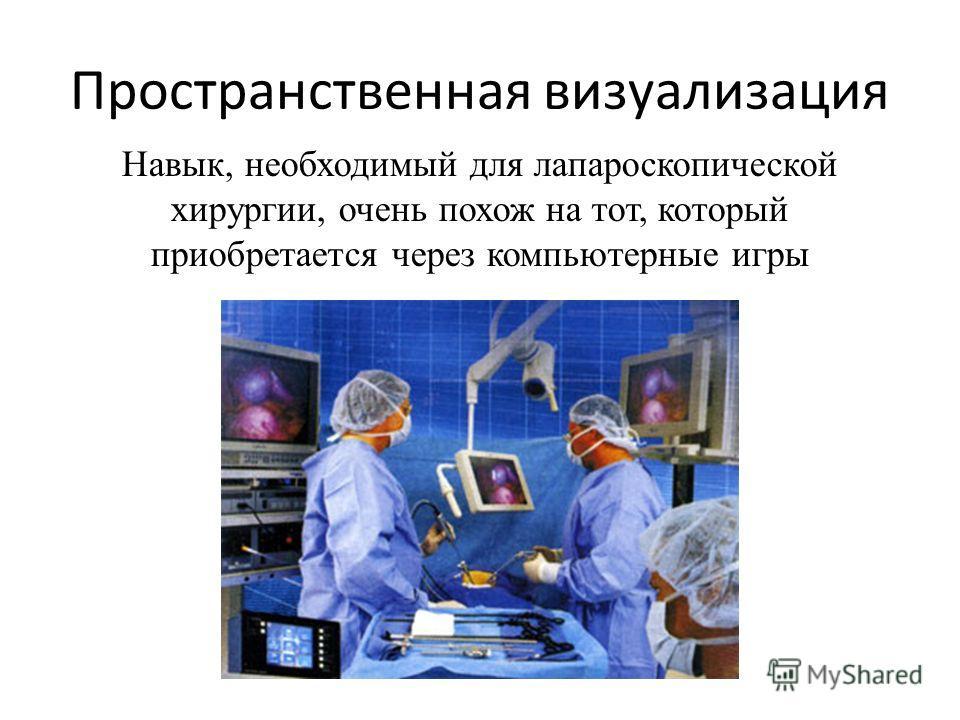Пространственная визуализация Навык, необходимый для лапароскопической хирургии, очень похож на тот, который приобретается через компьютерные игры