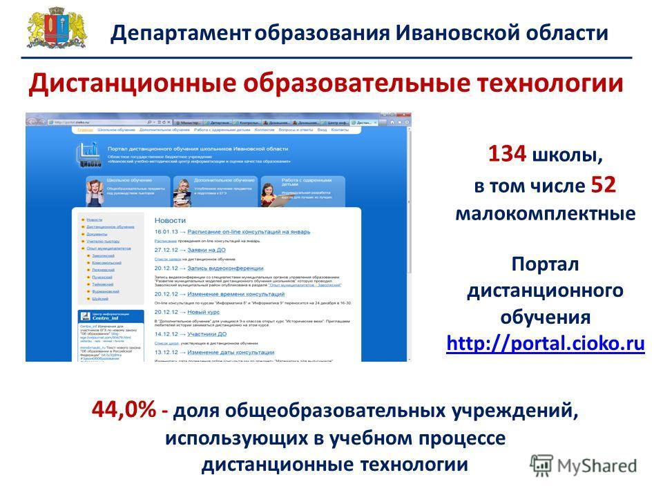 Департамент образования Ивановской области 134 школы, в том числе 52 малокомплектные Портал дистанционного обучения http://portal.cioko.ru http://portal.cioko.ru 44,0% - доля общеобразовательных учреждений, использующих в учебном процессе дистанционн