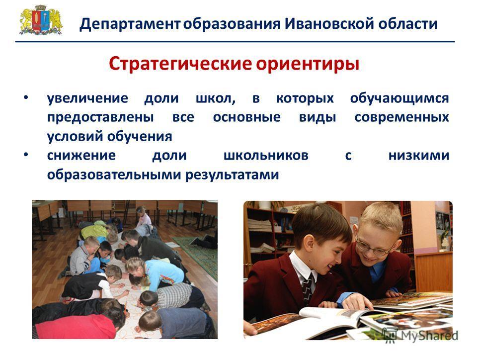 Департамент образования Ивановской области увеличение доли школ, в которых обучающимся предоставлены все основные виды современных условий обучения снижение доли школьников с низкими образовательными результатами Стратегические ориентиры