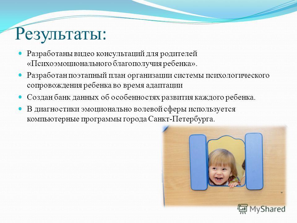 Результаты : Разработаны видео консультаций для родителей «Психоэмоционального благополучия ребенка». Разработан поэтапный план организации системы психологического сопровождения ребенка во время адаптации Создан банк данных об особенностях развития
