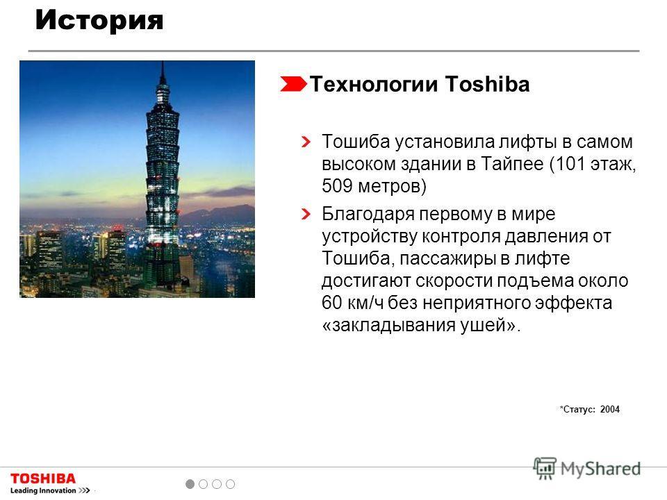 История Технологии Toshiba Тошиба установила лифты в самом высоком здании в Тайпее (101 этаж, 509 метров) Благодаря первому в мире устройству контроля давления от Тошиба, пассажиры в лифте достигают скорости подъема около 60 км/ч без неприятного эффе