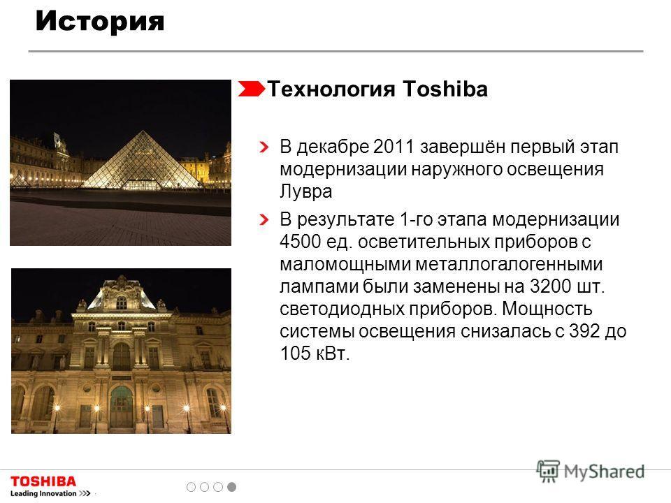 Технология Toshiba В декабре 2011 завершён первый этап модернизации наружного освещения Лувра В результате 1-го этапа модернизации 4500 ед. осветительных приборов с маломощными металлогалогенными лампами были заменены на 3200 шт. светодиодных приборо