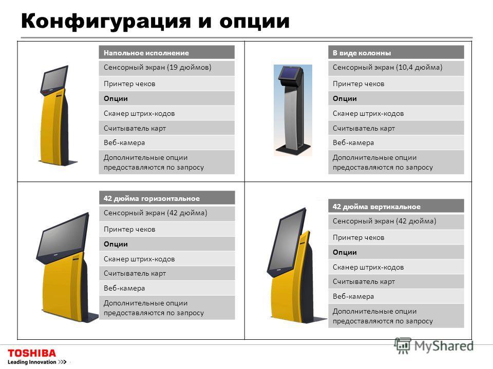 Конфигурация и опции Напольное исполнение Сенсорный экран (19 дюймов) Принтер чеков Опции Сканер штрих-кодов Считыватель карт Веб-камера Дополнительные опции предоставляются по запросу В виде колонны Сенсорный экран (10,4 дюйма) Принтер чеков Опции С