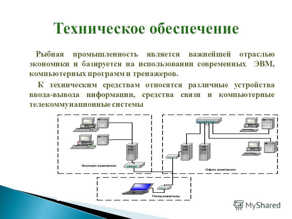 Рыбная промышленность является важнейшей отраслью экономики и базируется на использовании современных ЭВМ, компьютерных программ и тренажеров. К техническим средствам относятся различные устройства ввода-вывода информации, средства связи и компьютерн
