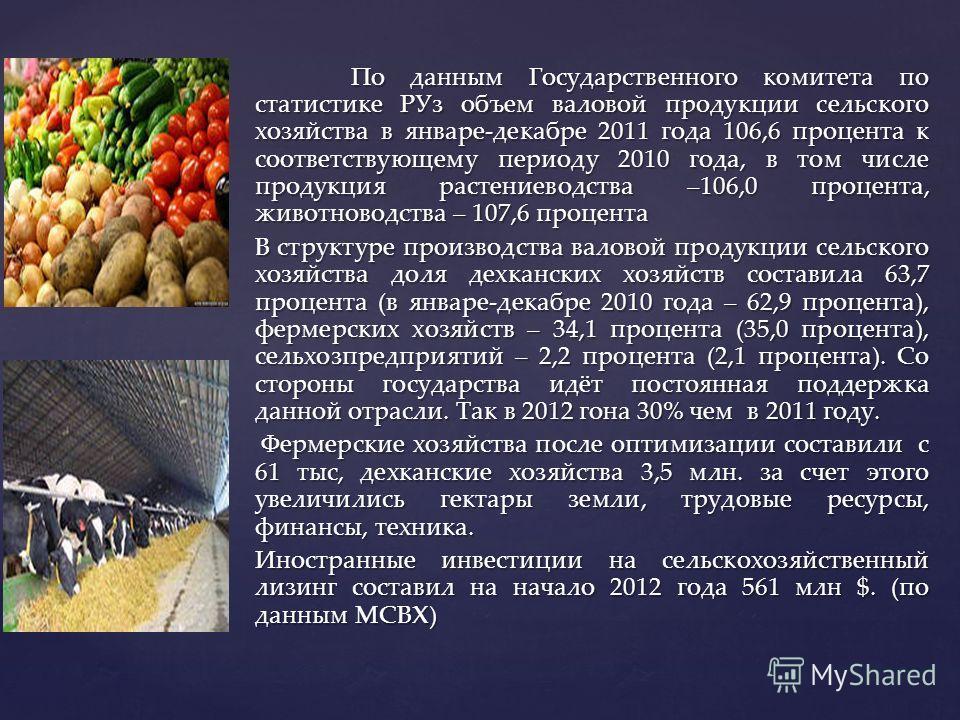 По данным Государственного комитета по статистике РУз объем валовой продукции сельского хозяйства в январе-декабре 2011 года 106,6 процента к соответствующему периоду 2010 года, в том числе продукция растениеводства –106,0 процента, животноводства –