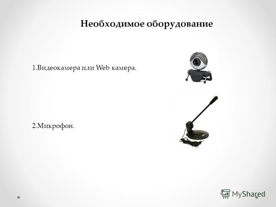 Необходимое оборудование 1.Видеокамера или Web камера. 2.Микрофон.