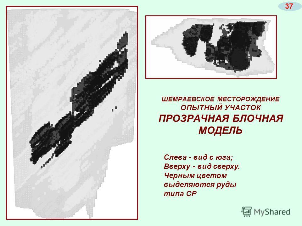 ШЕМРАЕВСКОЕ МЕСТОРОЖДЕНИЕ ОПЫТНЫЙ УЧАСТОК ПРОЗРАЧНАЯ БЛОЧНАЯ МОДЕЛЬ Слева - вид с юга; Вверху - вид сверху. Черным цветом выделяются руды типа СР 37