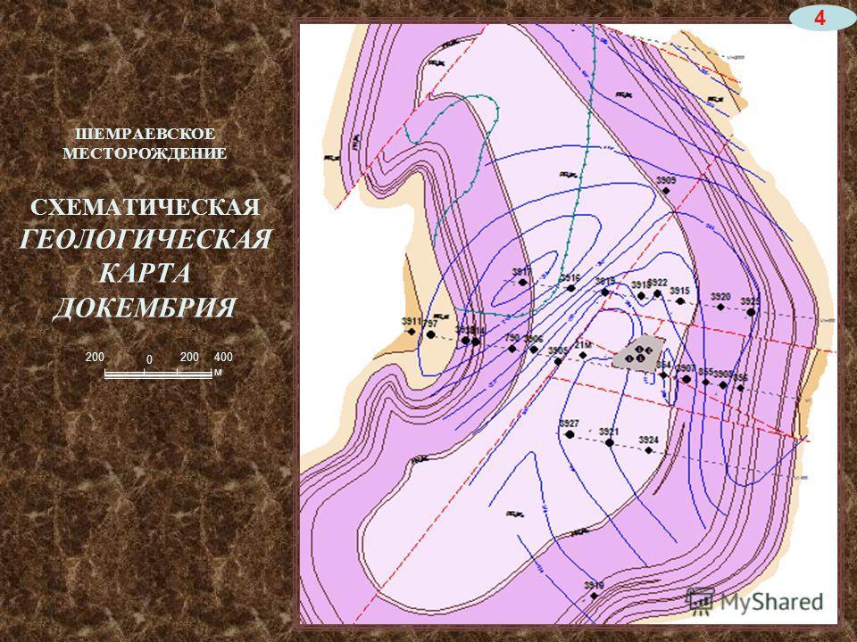 ШЕМРАЕВСКОЕ МЕСТОРОЖДЕНИЕ СХЕМАТИЧЕСКАЯ ГЕОЛОГИЧЕСКАЯ КАРТА ДОКЕМБРИЯ 200400 м 200 0 4