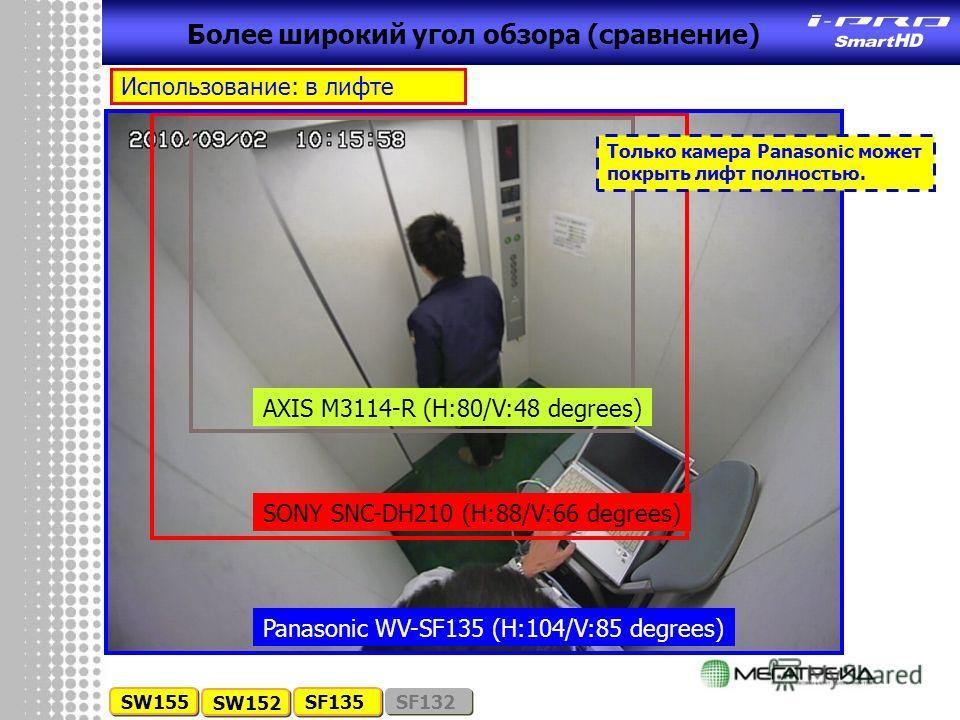 Более широкий угол обзора (сравнение) SW155 SW152 SF135 SF132 AXIS M3114-R (H:80/V:48 degrees) SONY SNC-DH210 (H:88/V:66 degrees) Panasonic WV-SF135 (H:104/V:85 degrees) Использование: в лифте Только камера Panasonic может покрыть лифт полностью.