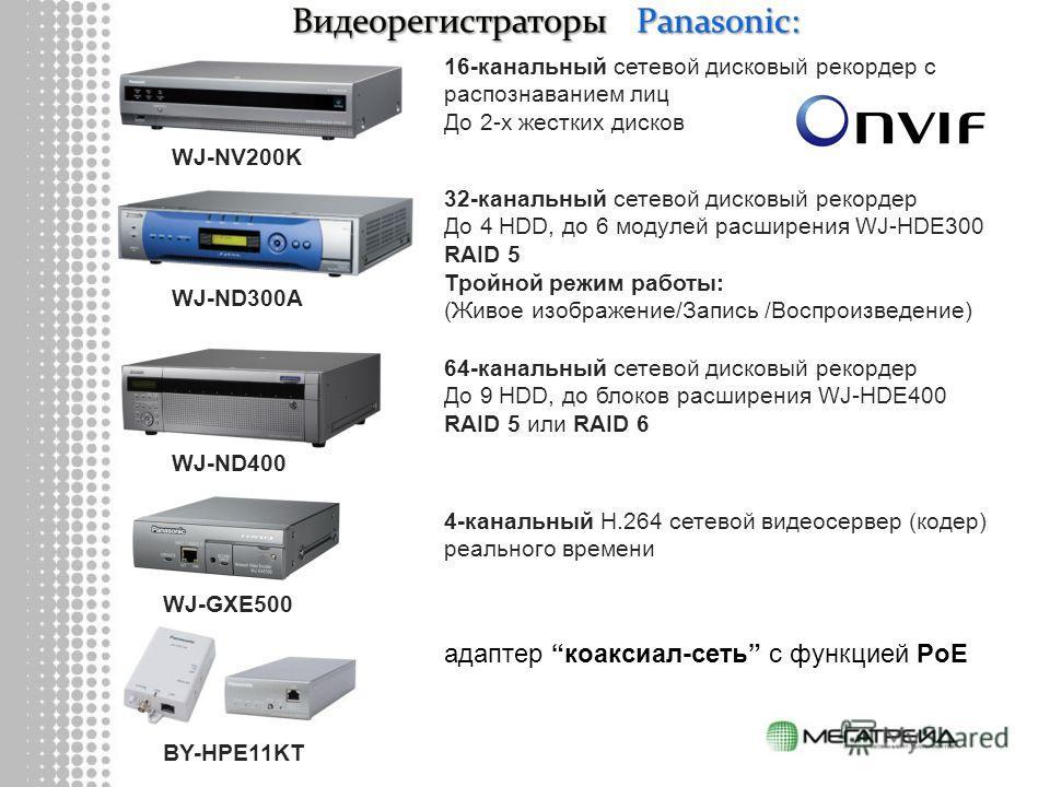 WJ-NV200K WJ-ND300A WJ-ND400 16-канальный сетевой дисковый рекордер с распознаванием лиц До 2-х жестких дисков 32-канальный сетевой дисковый рекордер До 4 HDD, до 6 модулей расширения WJ-HDE300 RAID 5 Тройной режим работы: (Живое изображение/Запись /