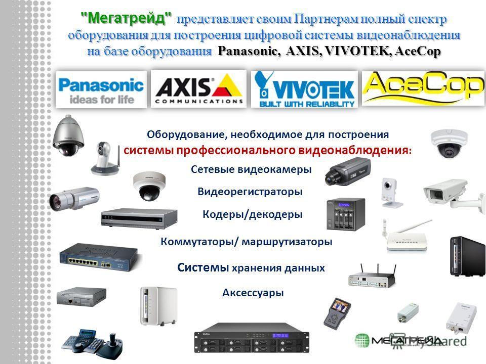 Оборудование, необходимое для построения системы профессионального видеонаблюдения : Сетевые видеокамеры Кодеры/декодеры Видеорегистраторы Системы хранения данных Аксессуары Коммутаторы/ маршрутизаторы