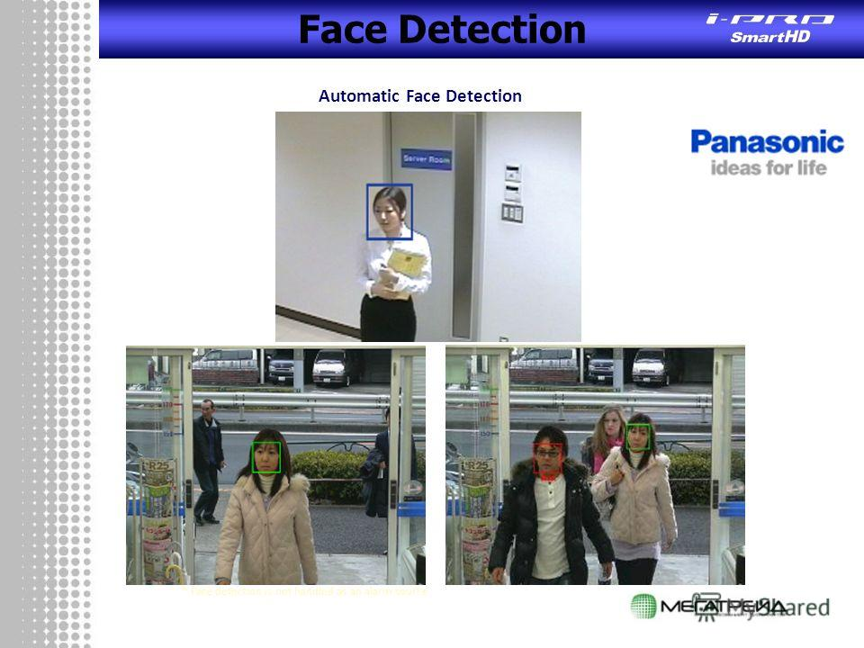 Face Detection Automatic Face Detection * Face detection is not handled as an alarm source.