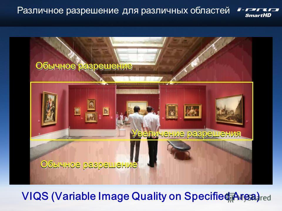 Обычное разрешение VIQS (Variable Image Quality on Specified Area) Увеличение разрешения Различное разрешение для различных областей
