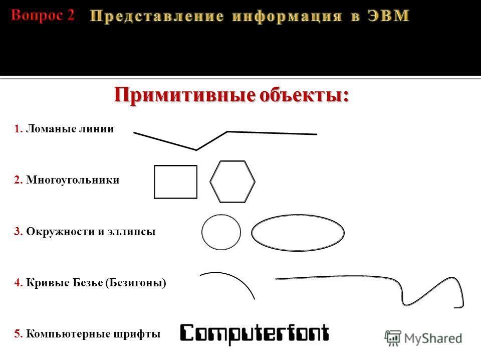 A – 01000001, B – 01000010, C – 01000011, D – 01000100 Примитивные объекты: 1. Ломаные линии 2. Многоугольники 3. Окружности и эллипсы 4. Кривые Безье (Безигоны) 5. Компьютерные шрифты