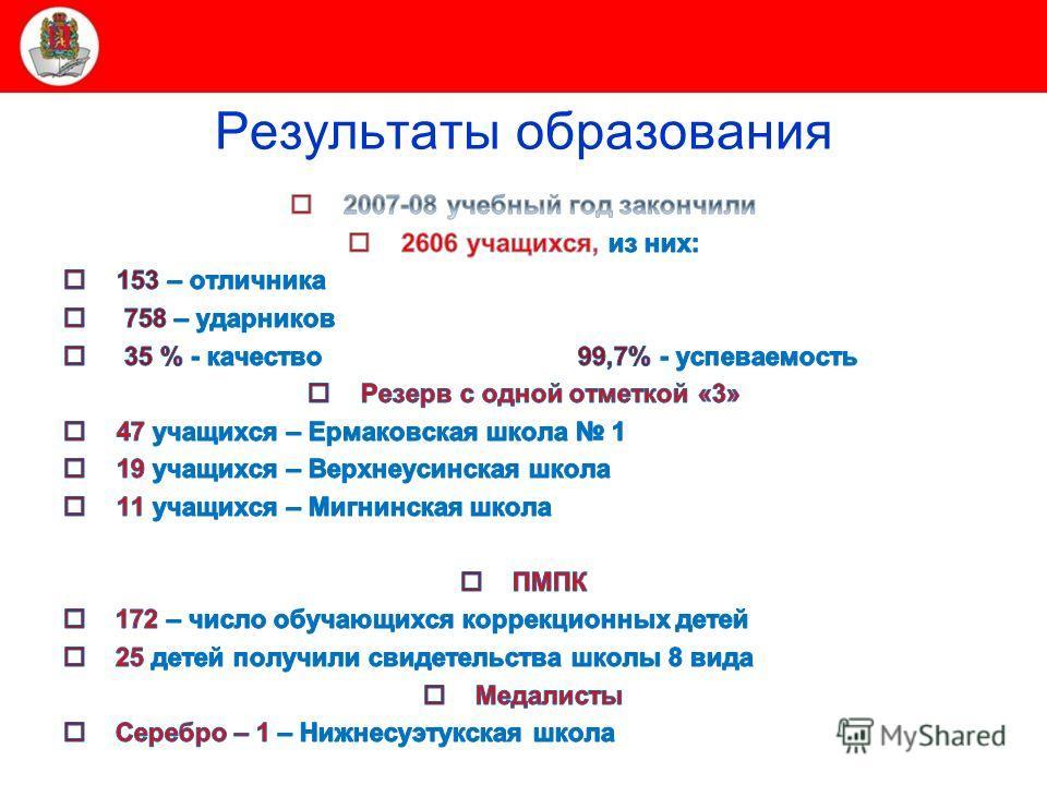 Министерство образования и науки Красноярского края Результаты образования