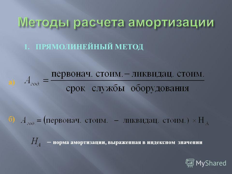 1. ПРЯМОЛИНЕЙНЫЙ МЕТОД а ) б ) – норма амортизации, выраженная в индексном значении