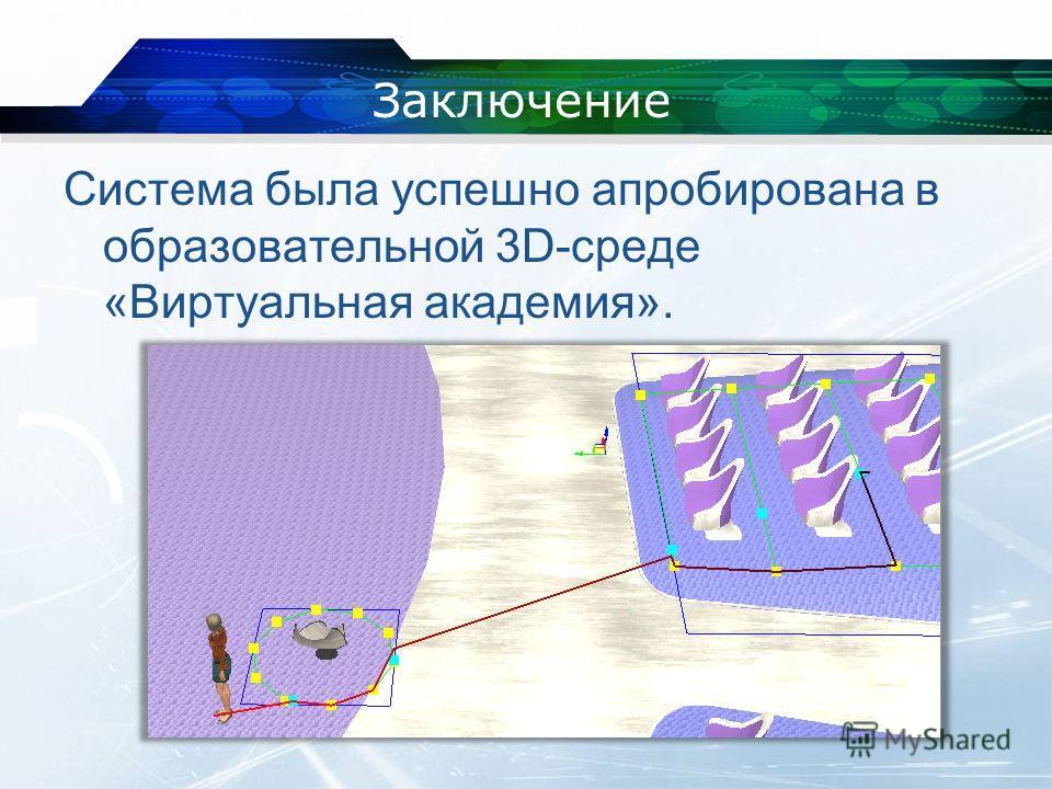 Заключение Система была успешно апробирована в образовательной 3D-среде «Виртуальная академия».