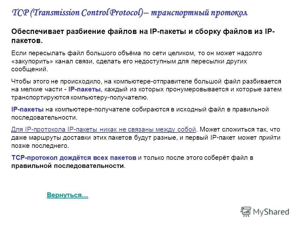 TCP (Transmission Control Protocol)транспортный протокол TCP (Transmission Control Protocol) – транспортный протокол Обеспечивает разбиение файлов на IP-пакеты и сборку файлов из IP- пакетов. Если пересылать файл большого объёма по сети целиком, то о