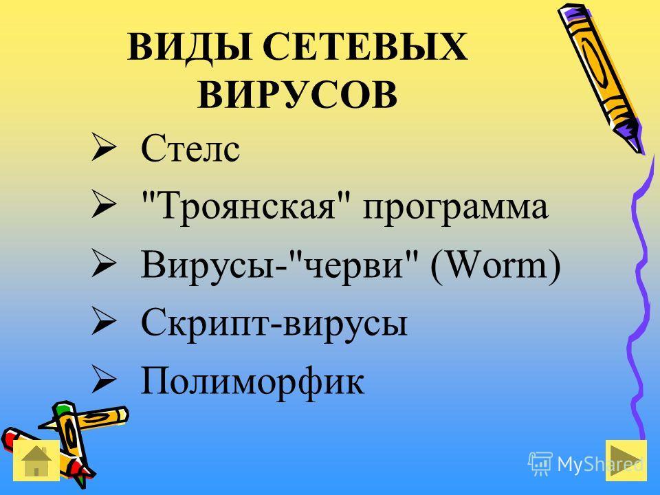 ВИДЫ СЕТЕВЫХ ВИРУСОВ Стелс Троянская программа Вирусы-черви (Worm) Скрипт-вирусы Полиморфик