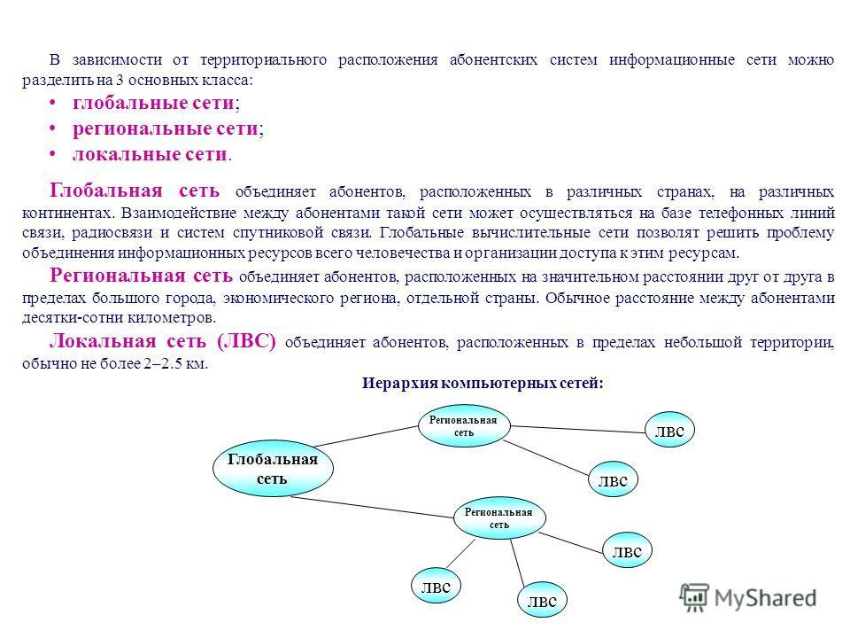 В зависимости от территориального расположения абонентских систем информационные сети можно разделить на 3 основных класса: глобальные сети; региональные сети; локальные сети. Глобальная сеть объединяет абонентов, расположенных в различных странах, н