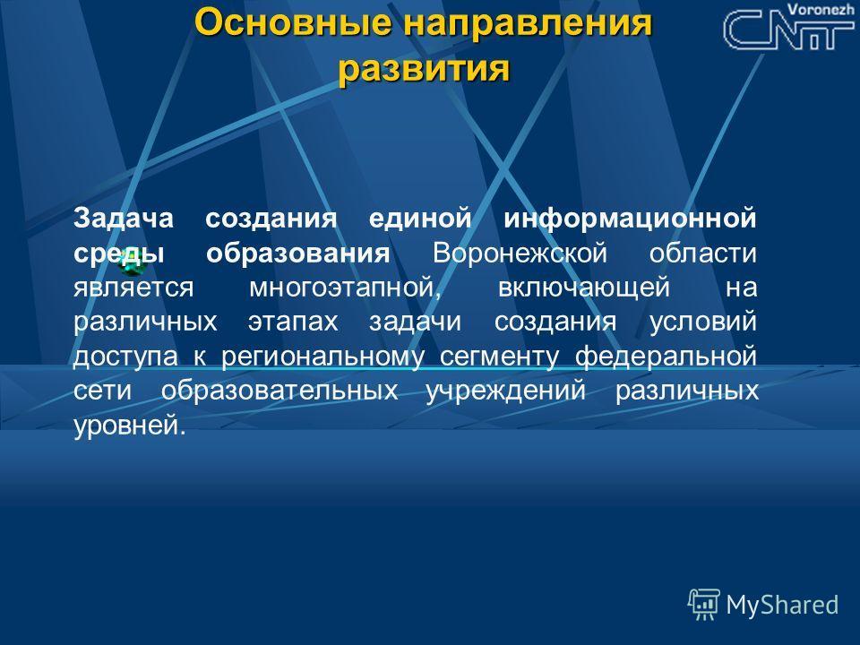 Основные направления развития Задача создания единой информационной среды образования Воронежской области является многоэтапной, включающей на различных этапах задачи создания условий доступа к региональному сегменту федеральной сети образовательных