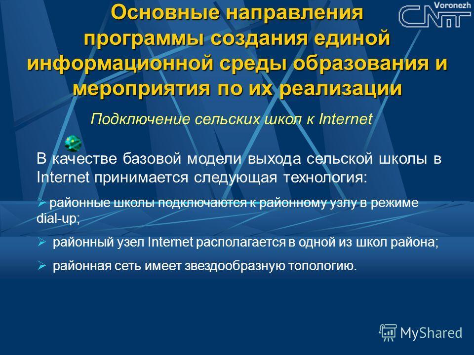 Основные направления программы создания единой информационной среды образования и мероприятия по их реализации Подключение сельских школ к Internet В качестве базовой модели выхода сельской школы в Internet принимается следующая технология: районные