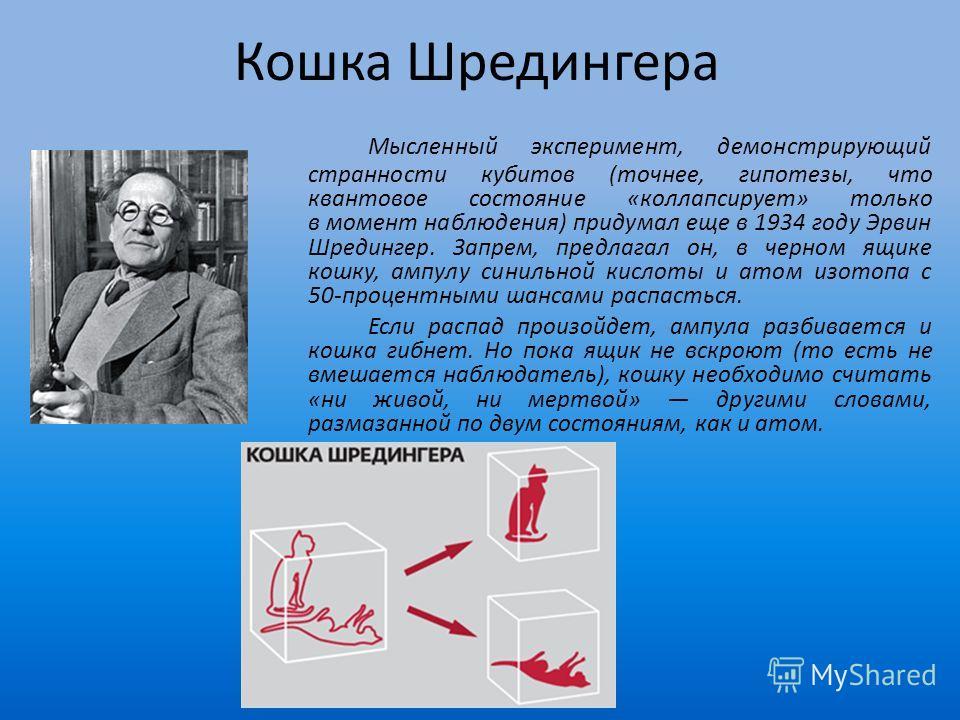 Кошка Шредингера Мысленный эксперимент, демонстрирующий странности кубитов (точнее, гипотезы, что квантовое состояние «коллапсирует» только в момент наблюдения) придумал еще в 1934 году Эрвин Шредингер. Запрем, предлагал он, в черном ящике кошку, амп
