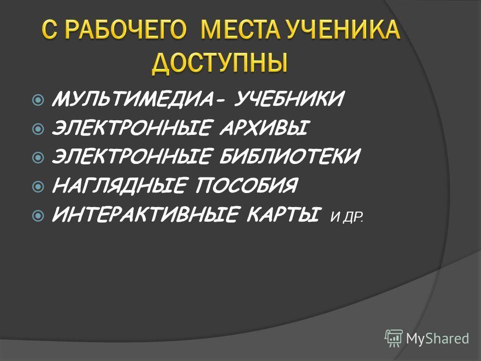 МУЛЬТИМЕДИА- УЧЕБНИКИ ЭЛЕКТРОННЫЕ АРХИВЫ ЭЛЕКТРОННЫЕ БИБЛИОТЕКИ НАГЛЯДНЫЕ ПОСОБИЯ ИНТЕРАКТИВНЫЕ КАРТЫ И ДР.
