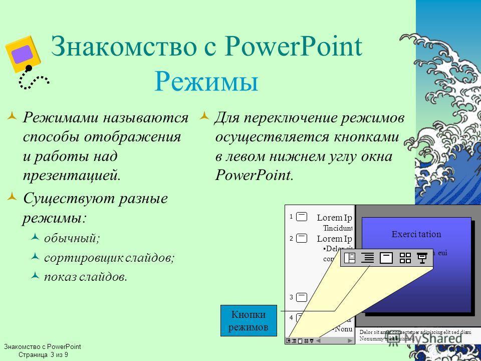 Знакомство с PowerPoint Режимы Режимами называются способы отображения и работы над презентацией. Существуют разные режимы: обычный; сортировщик слайдов; показ слайдов. Для переключение режимов осуществляется кнопками в левом нижнем углу окна PowerPo