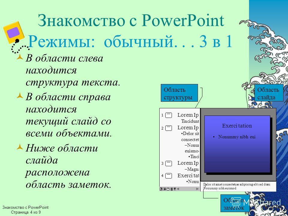 Знакомство с PowerPoint Режимы: обычный... 3 в 1 В области слева находится структура текста. В области справа находится текущий слайд со всеми объектами. Ниже области слайда расположена область заметок. Знакомство с PowerPoint Страница 4 из 9 Lorem I