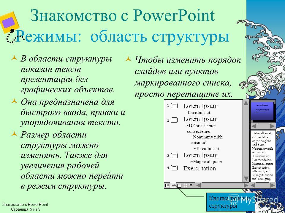 Знакомство с PowerPoint Режимы: область структуры В области структуры показан текст презентации без графических объектов. Она предназначена для быстрого ввода, правки и упорядочивания текста. Размер области структуры можно изменять. Также для увеличе