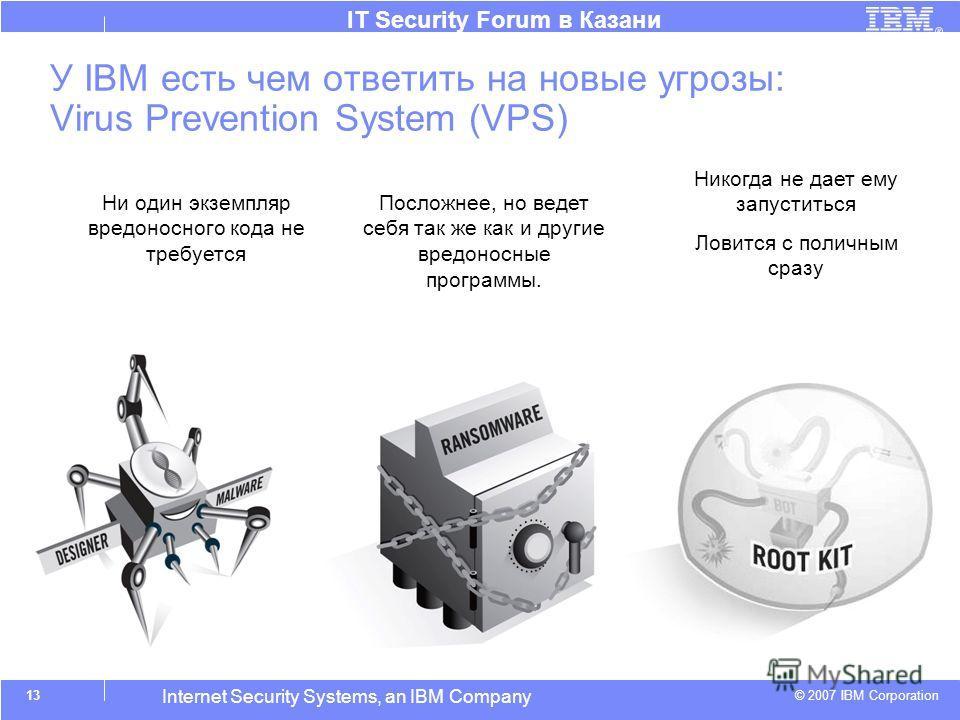 © 2007 IBM Corporation IT Security Forum в Казани Internet Security Systems, an IBM Company У IBM есть чем ответить на новые угрозы: Virus Prevention System (VPS) Ни один экземпляр вредоносного кода не требуется Посложнее, но ведет себя так же как и