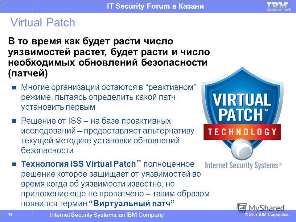 © 2007 IBM Corporation IT Security Forum в Казани Internet Security Systems, an IBM Company Virtual Patch TM В то время как будет расти число уязвимостей растет, будет расти и число необходимых обновлений безопасности (патчей) Многие организации оста