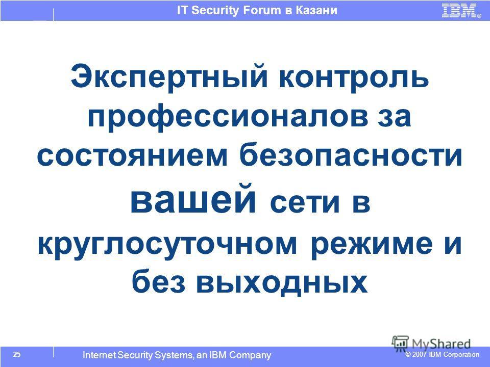 © 2007 IBM Corporation IT Security Forum в Казани Internet Security Systems, an IBM Company Экспертный контроль профессионалов за состоянием безопасности вашей сети в круглосуточном режиме и без выходных Достоинства 25