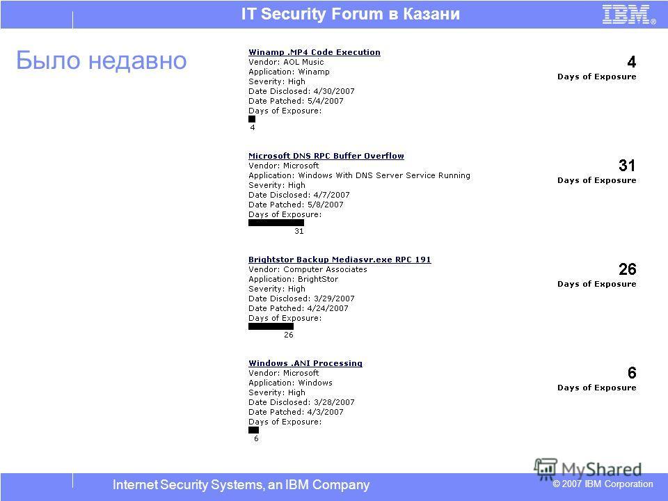 © 2007 IBM Corporation IT Security Forum в Казани Internet Security Systems, an IBM Company Было недавно