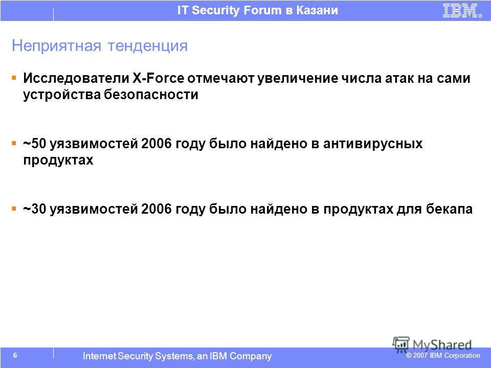 © 2007 IBM Corporation IT Security Forum в Казани Internet Security Systems, an IBM Company Неприятная тенденция Исследователи X-Force отмечают увеличение числа атак на сами устройства безопасности ~50 уязвимостей 2006 году было найдено в антивирусны
