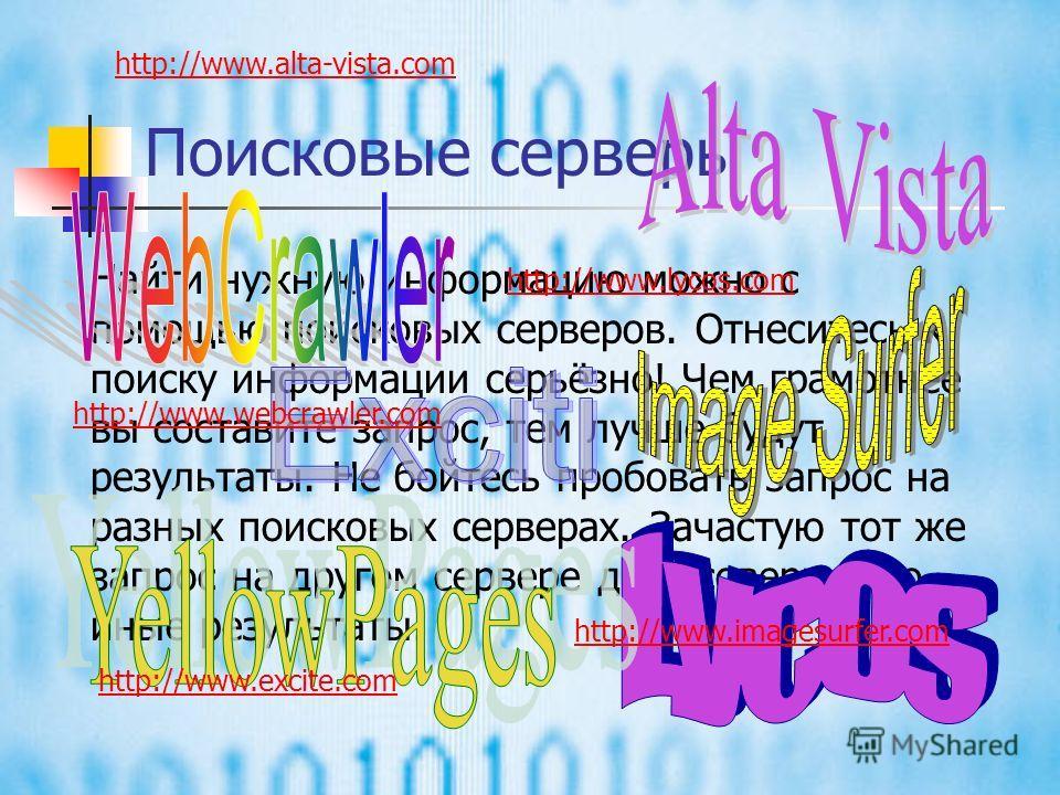 Поиск информации в Интернете Пользуясь гипертекстовыми ссылками, можно бесконечно долго путешествовать в информационном пространстве Сети, переходя от одной страницы к другой. Учитывая, что в мире созданы миллионы Web- страниц, то найти нужную информ